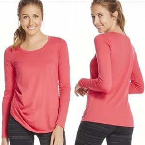 Fabletics bright pink gathered long sleeve